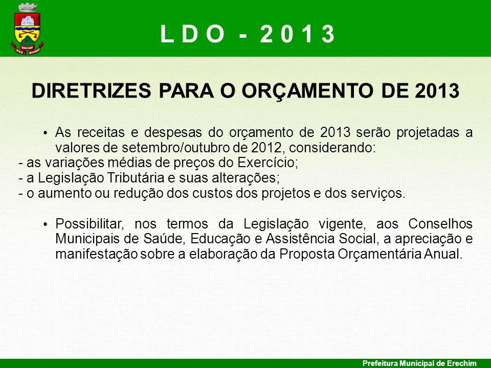 Prefeitura Municipal de Erechim DIRETRIZES PARA O ORÇAMENTO DE 2013 As receitas e despesas do orçamento de 2013 serão projetadas a valores de setembro