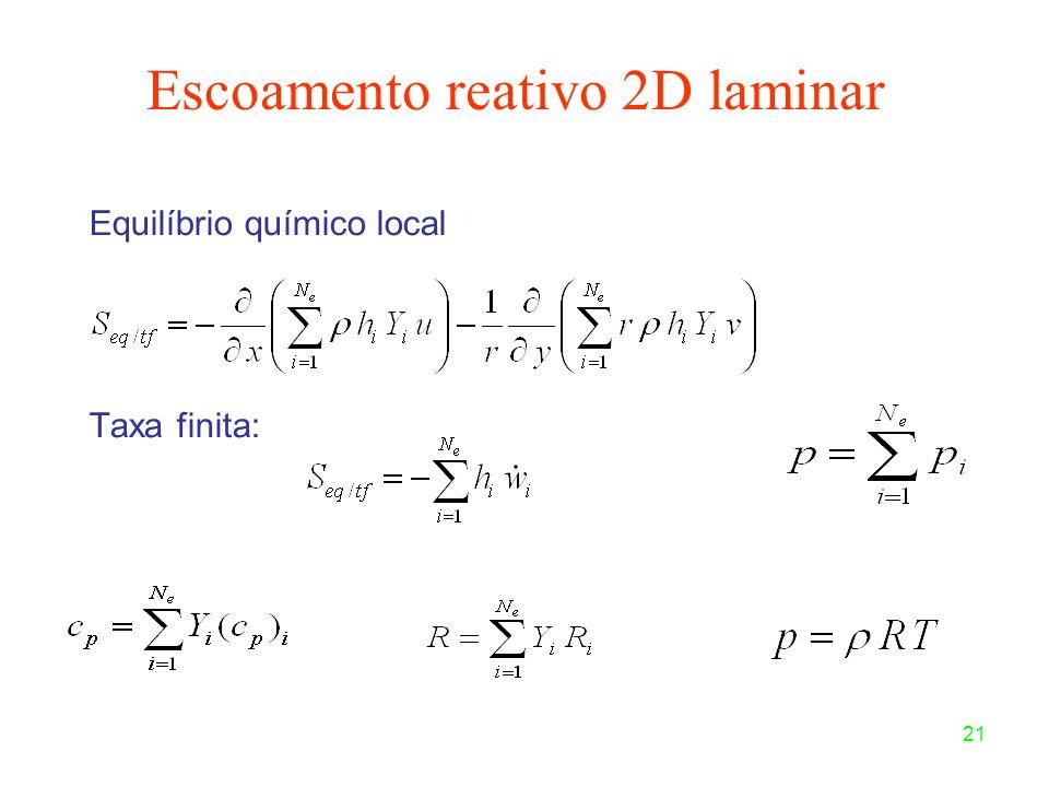21 Equilíbrio químico local Taxa finita: Escoamento reativo 2D laminar