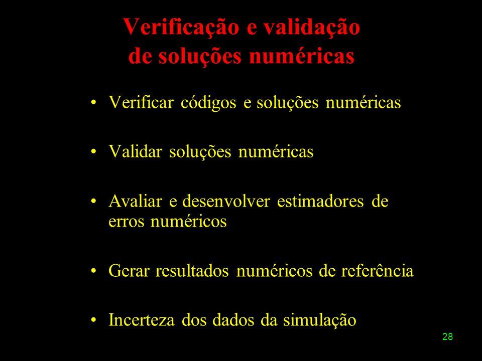 28 Verificação e validação de soluções numéricas Verificar códigos e soluções numéricas Validar soluções numéricas Avaliar e desenvolver estimadores d