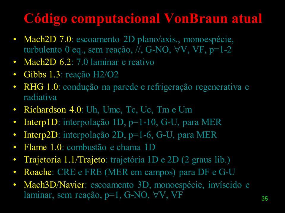 35 Código computacional VonBraun atual Mach2D 7.0: escoamento 2D plano/axis., monoespécie, turbulento 0 eq., sem reação, //, G-NO, V, VF, p=1-2 Mach2D