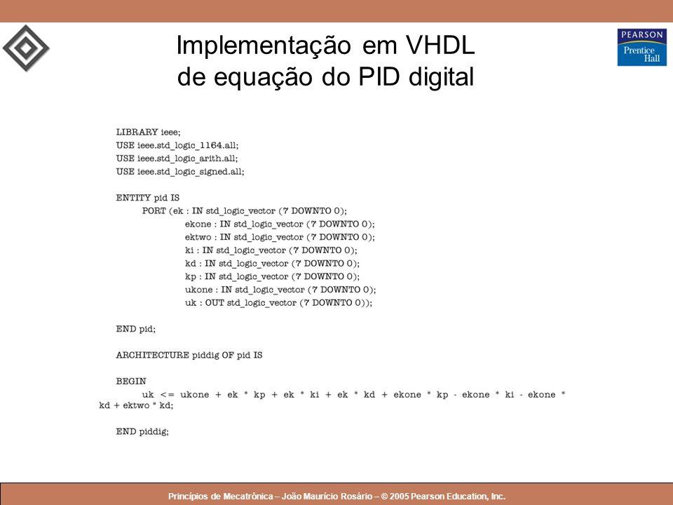 © 2005 by Pearson Education Princípios de Mecatrônica – João Maurício Rosário – © 2005 Pearson Education, Inc. Implementação em VHDL de equação do PID