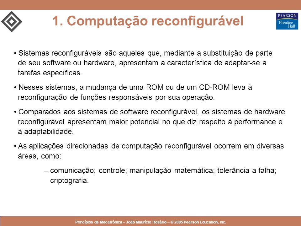 © 2005 by Pearson Education Princípios de Mecatrônica – João Maurício Rosário – © 2005 Pearson Education, Inc. Sistemas reconfiguráveis são aqueles qu