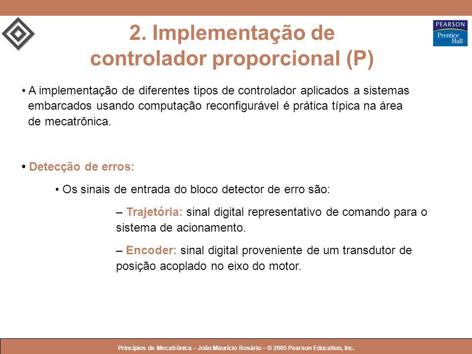 © 2005 by Pearson Education Princípios de Mecatrônica – João Maurício Rosário – © 2005 Pearson Education, Inc. A implementação de diferentes tipos de