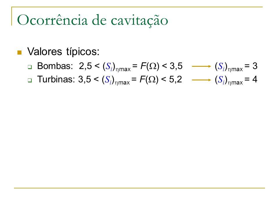 Ocorrência de cavitação Valores típicos: Bombas: 2,5 < ( S i ) max = F( ) < 3,5 ( S i ) max = 3 Turbinas: 3,5 < ( S i ) max = F( ) < 5,2 ( S i ) max =