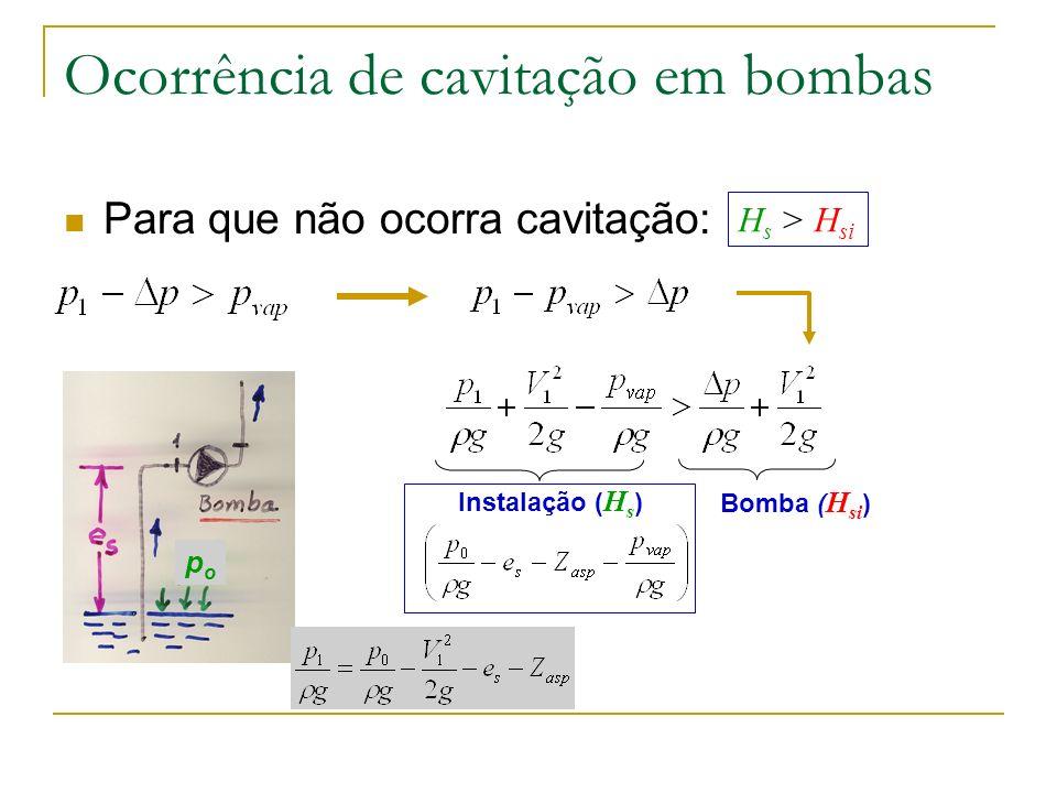 Ocorrência de cavitação em bombas Altura de aspiração disponível: só depende da instalação Altura de aspiração crítica: só depende da bomba Curvas de H si são fornecidas pelo fabricante: H si = F(Q,N,D,,, parâmetros geométricos)