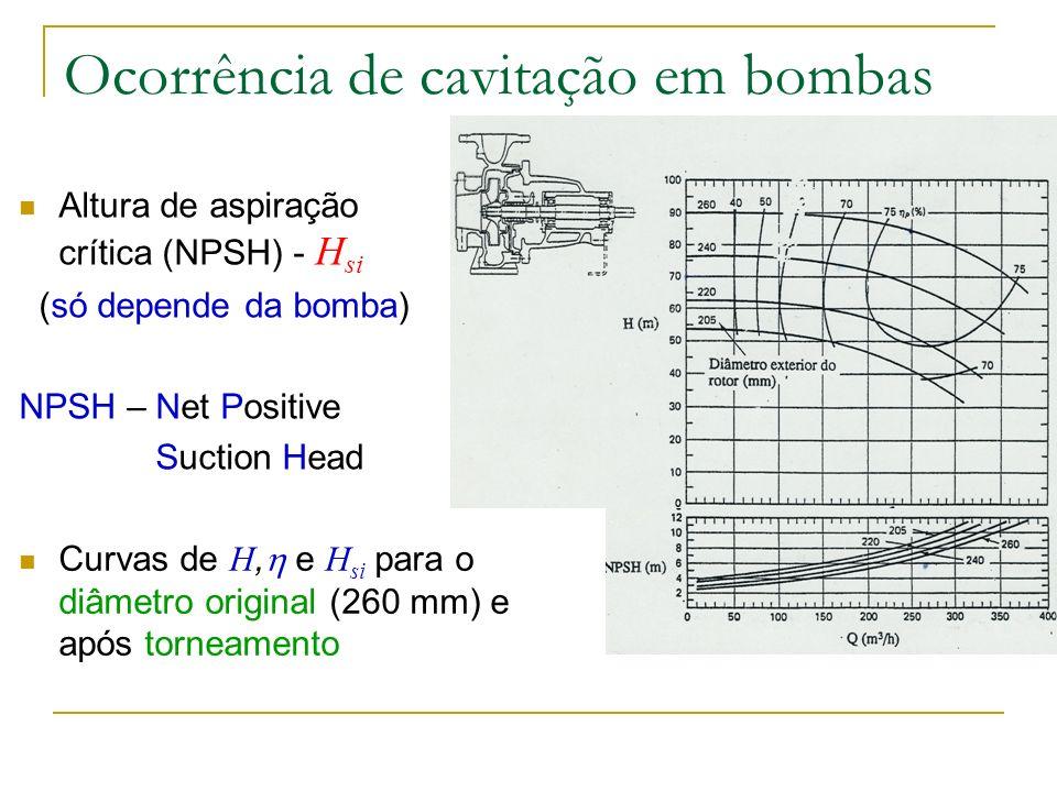 Ocorrência de cavitação em turbinas A diferença é que na definição da altura de aspiração disponível se incluem as perdas de carga no difusor (parte integrante do fornecimento) Não há cavitação se H s > H si
