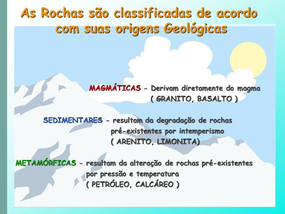 As Rochas são classificadas de acordo com suas origens Geológicas MAGMÁTICAS - Derivam diretamente do magma MAGMÁTICAS - Derivam diretamente do magma