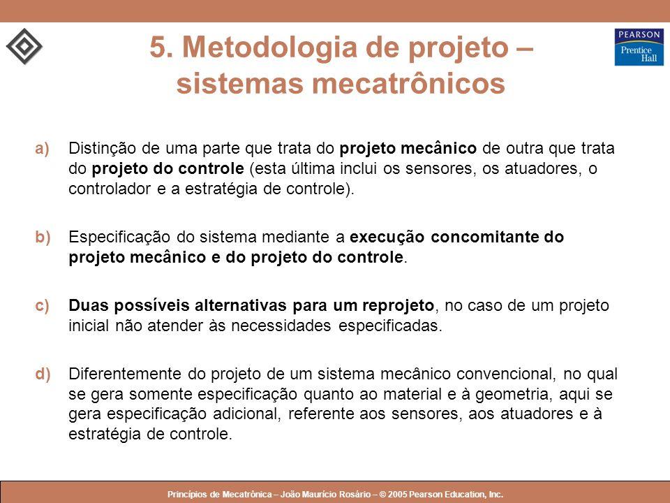 © 2005 by Pearson Education Princípios de Mecatrônica – João Maurício Rosário – © 2005 Pearson Education, Inc. a)Distinção de uma parte que trata do p