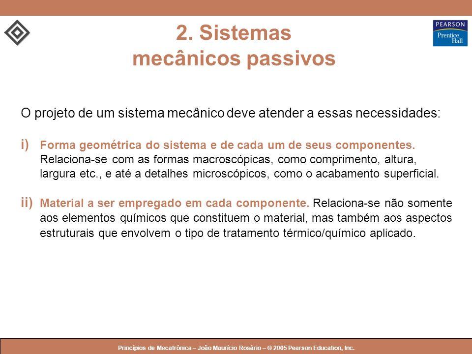 © 2005 by Pearson Education Princípios de Mecatrônica – João Maurício Rosário – © 2005 Pearson Education, Inc. O projeto de um sistema mecânico deve a