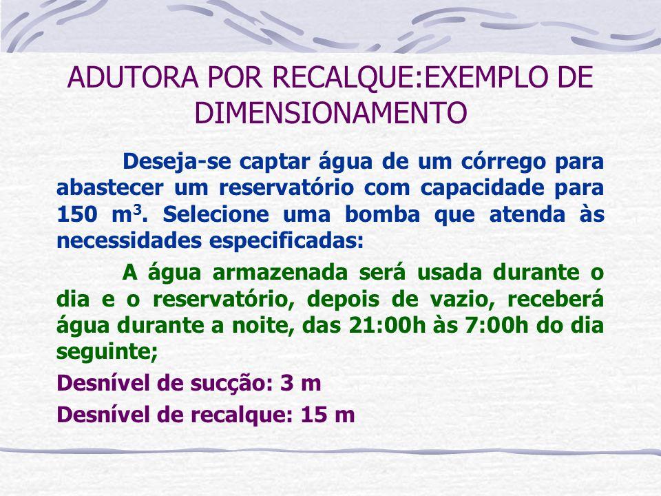ADUTORA POR RECALQUE:EXEMPLO DE DIMENSIONAMENTO Deseja-se captar água de um córrego para abastecer um reservatório com capacidade para 150 m 3. Seleci