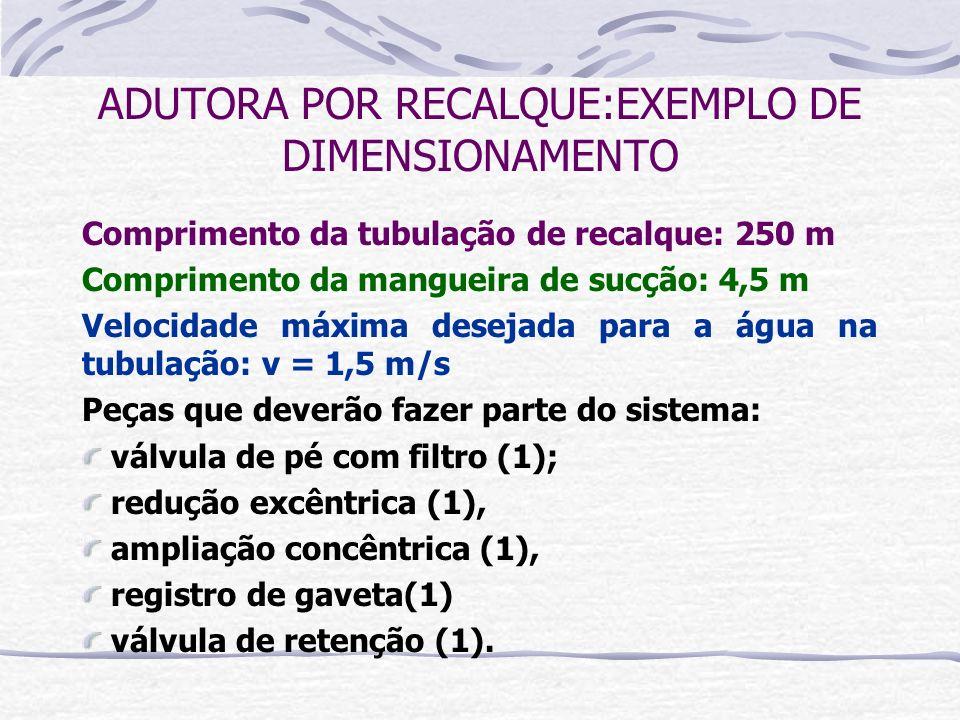 Comprimento da tubulação de recalque: 250 m Comprimento da mangueira de sucção: 4,5 m Velocidade máxima desejada para a água na tubulação: v = 1,5 m/s