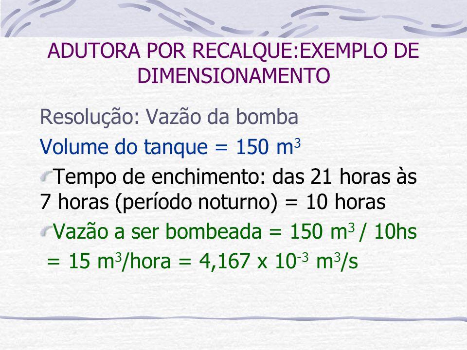 Resolução: Vazão da bomba Volume do tanque = 150 m 3 Tempo de enchimento: das 21 horas às 7 horas (período noturno) = 10 horas Vazão a ser bombeada =