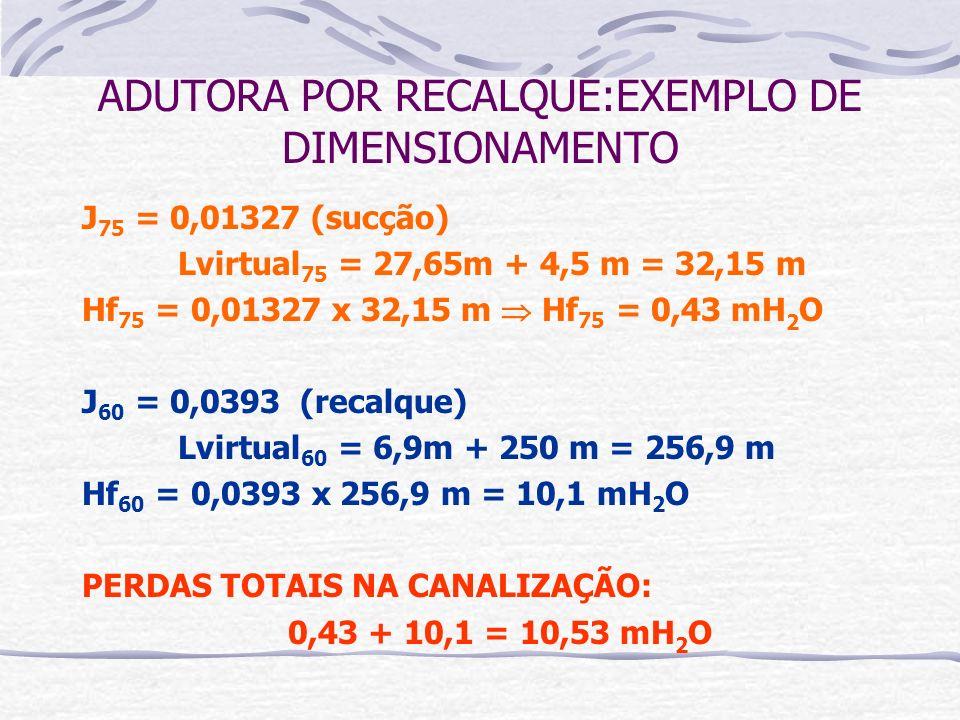 J 75 = 0,01327 (sucção) Lvirtual 75 = 27,65m + 4,5 m = 32,15 m Hf 75 = 0,01327 x 32,15 m Hf 75 = 0,43 mH 2 O J 60 = 0,0393 (recalque) Lvirtual 60 = 6,