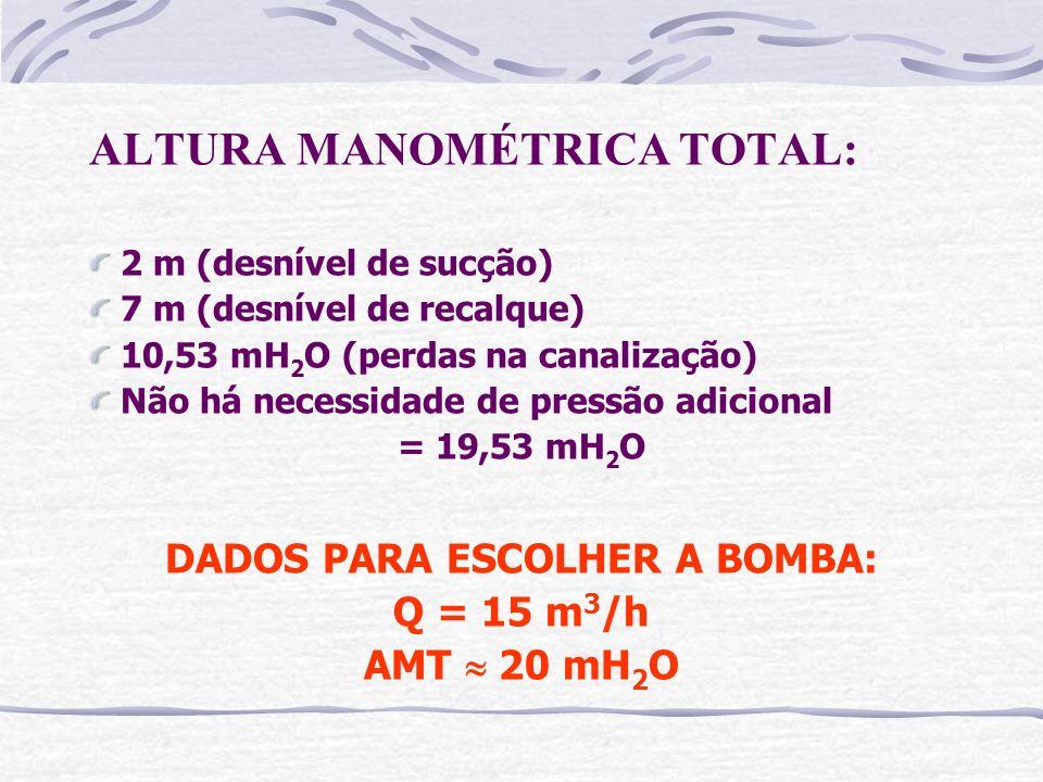 ALTURA MANOMÉTRICA TOTAL: 2 m (desnível de sucção) 7 m (desnível de recalque) 10,53 mH 2 O (perdas na canalização) Não há necessidade de pressão adici