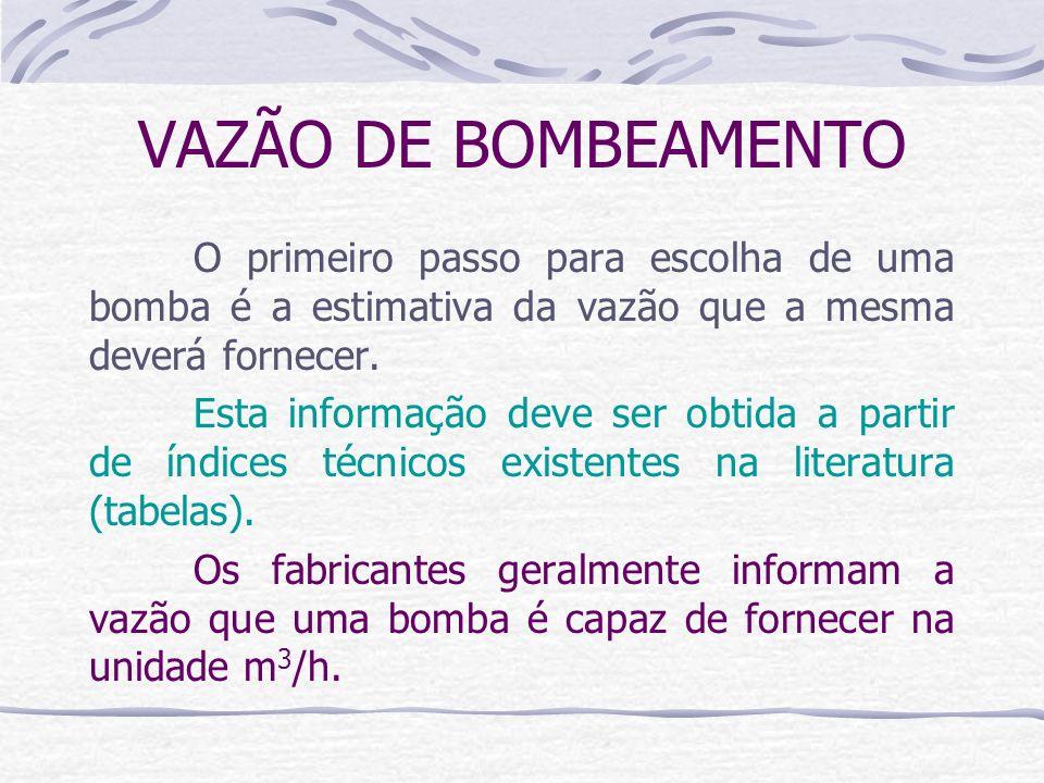 VAZÃO DE BOMBEAMENTO O primeiro passo para escolha de uma bomba é a estimativa da vazão que a mesma deverá fornecer. Esta informação deve ser obtida a
