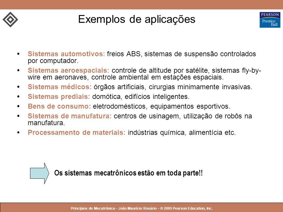 © 2005 by Pearson Education Princípios de Mecatrônica – João Maurício Rosário – © 2005 Pearson Education, Inc. Exemplos de aplicações Sistemas automot