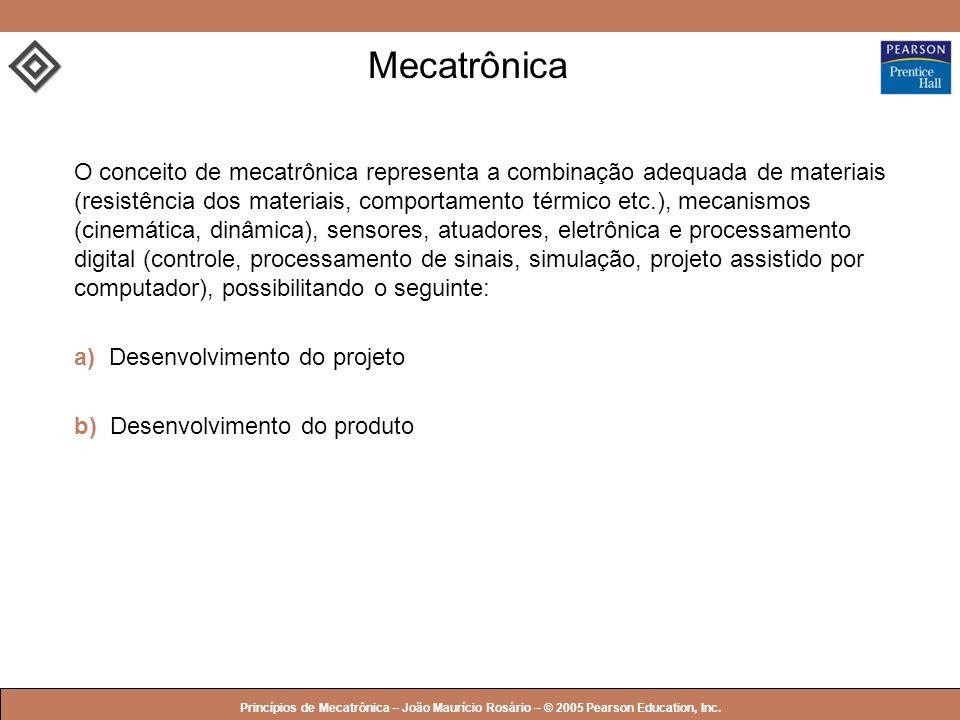 © 2005 by Pearson Education Princípios de Mecatrônica – João Maurício Rosário – © 2005 Pearson Education, Inc. Mecatrônica O conceito de mecatrônica r