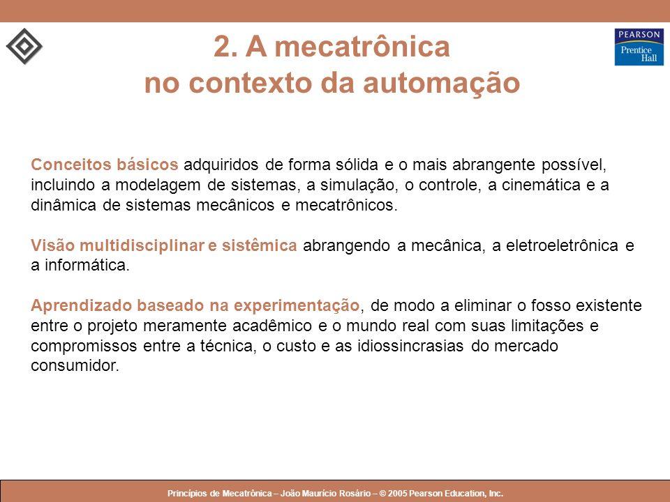 © 2005 by Pearson Education Princípios de Mecatrônica – João Maurício Rosário – © 2005 Pearson Education, Inc. 2. A mecatrônica no contexto da automaç