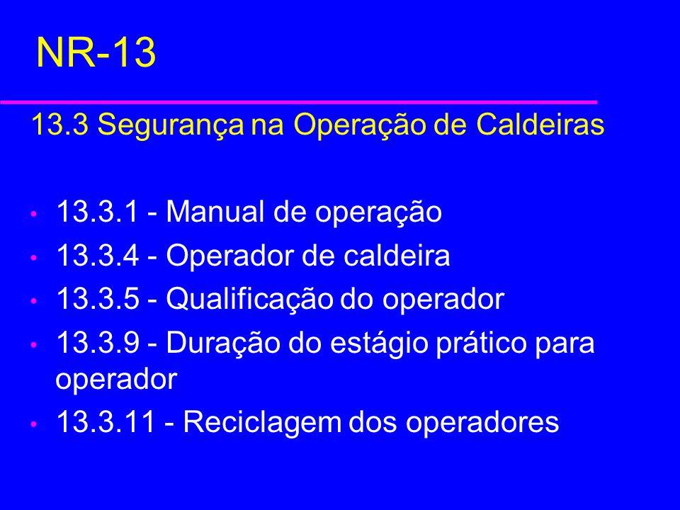 NR-13 13.3 Segurança na Operação de Caldeiras 13.3.1 - Manual de operação 13.3.4 - Operador de caldeira 13.3.5 - Qualificação do operador 13.3.9 - Dur