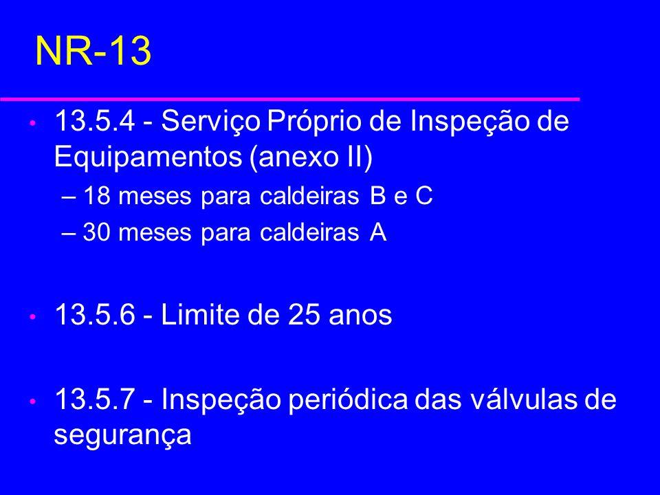 NR-13 13.5.4 - Serviço Próprio de Inspeção de Equipamentos (anexo II) –18 meses para caldeiras B e C –30 meses para caldeiras A 13.5.6 - Limite de 25