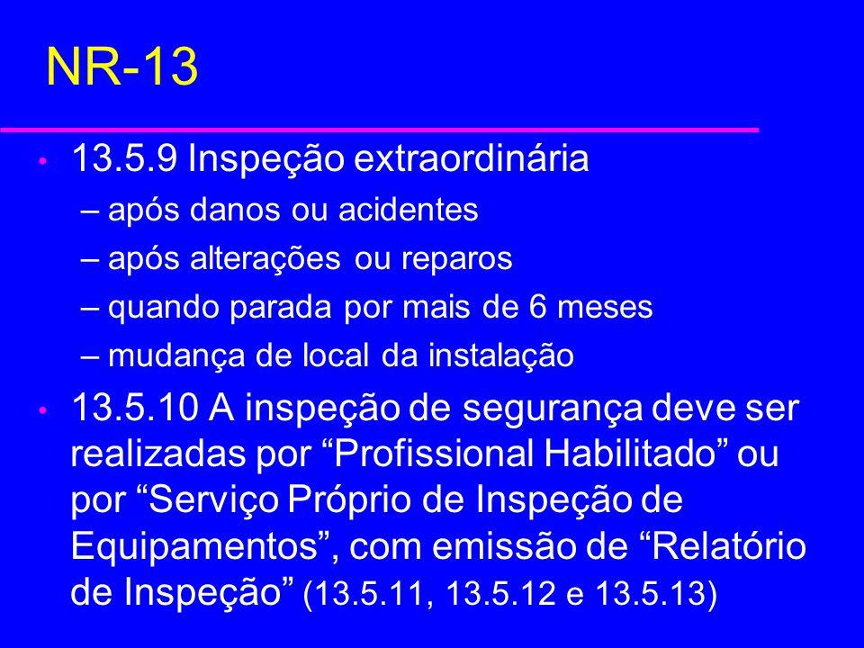 NR-13 13.5.9 Inspeção extraordinária –após danos ou acidentes –após alterações ou reparos –quando parada por mais de 6 meses –mudança de local da inst