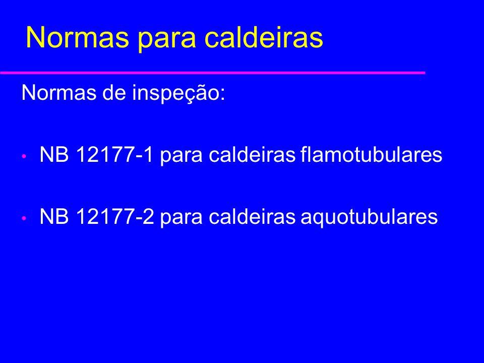 Normas de inspeção: NB 12177-1 para caldeiras flamotubulares NB 12177-2 para caldeiras aquotubulares Normas para caldeiras