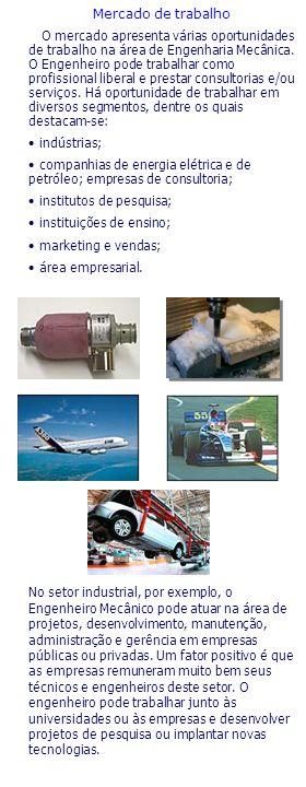 Mercado de trabalho O mercado apresenta várias oportunidades de trabalho na área de Engenharia Mecânica. O Engenheiro pode trabalhar como profissional