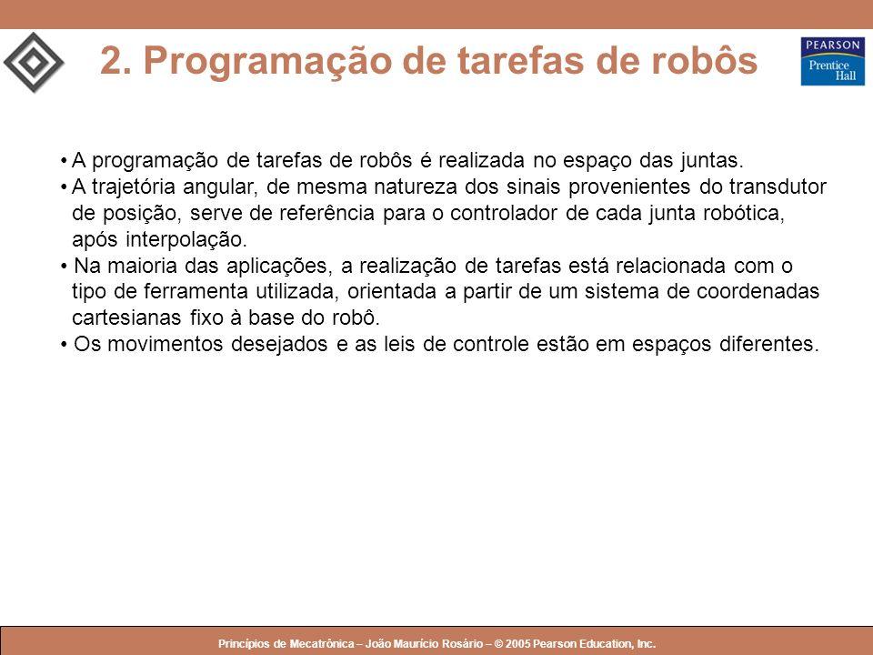 © 2005 by Pearson Education Princípios de Mecatrônica – João Maurício Rosário – © 2005 Pearson Education, Inc. 2. Programação de tarefas de robôs A pr