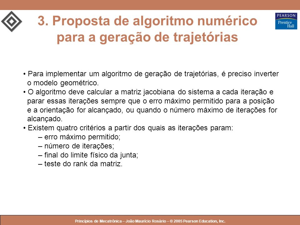 © 2005 by Pearson Education Princípios de Mecatrônica – João Maurício Rosário – © 2005 Pearson Education, Inc. 3. Proposta de algoritmo numérico para