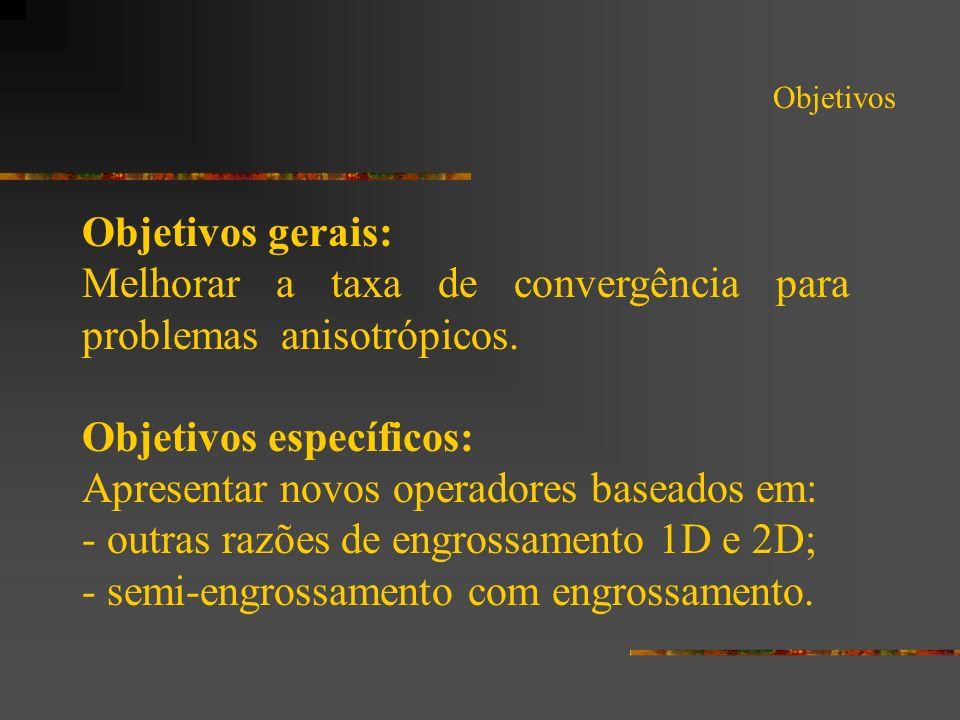 Objetivos Objetivos gerais: Melhorar a taxa de convergência para problemas anisotrópicos. Objetivos específicos: Apresentar novos operadores baseados