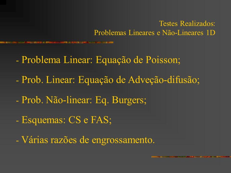 Testes Realizados: Problemas Lineares e Não-Lineares 1D - Itens abordados: - Iterações internas; - Número de níveis; - Número de incógnitas; - Esquemas CS x FAS.