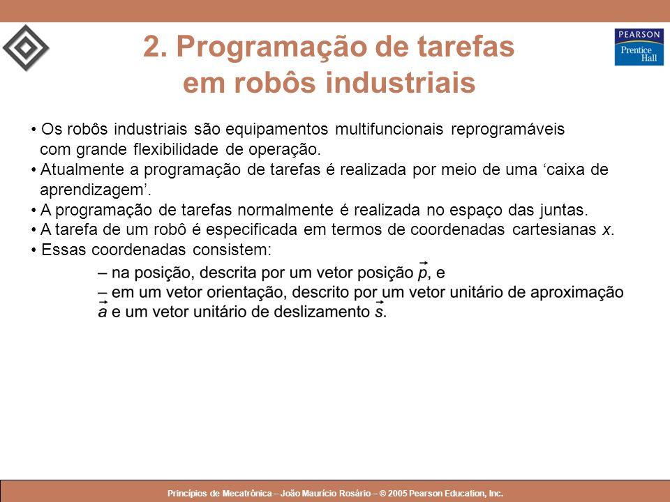 © 2005 by Pearson Education Princípios de Mecatrônica – João Maurício Rosário – © 2005 Pearson Education, Inc. Os robôs industriais são equipamentos m