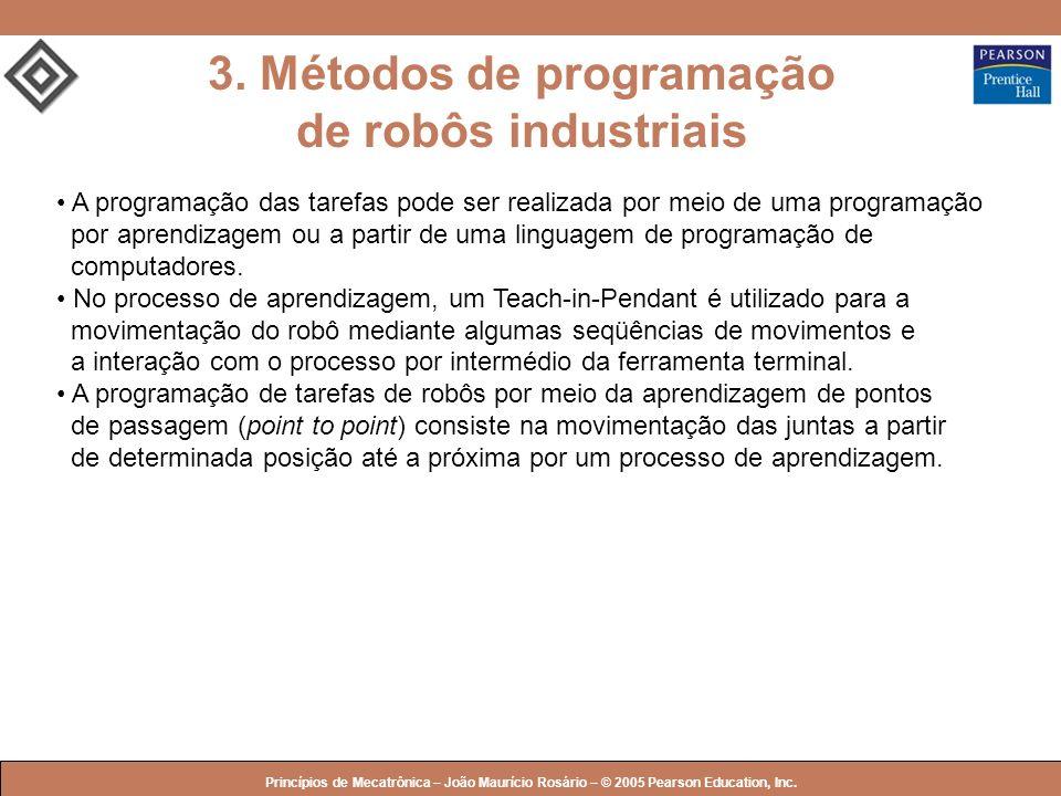 © 2005 by Pearson Education Princípios de Mecatrônica – João Maurício Rosário – © 2005 Pearson Education, Inc. 3. Métodos de programação de robôs indu