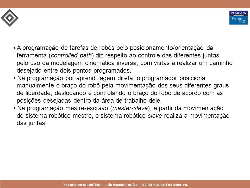 © 2005 by Pearson Education Princípios de Mecatrônica – João Maurício Rosário – © 2005 Pearson Education, Inc. A programação de tarefas de robôs pelo