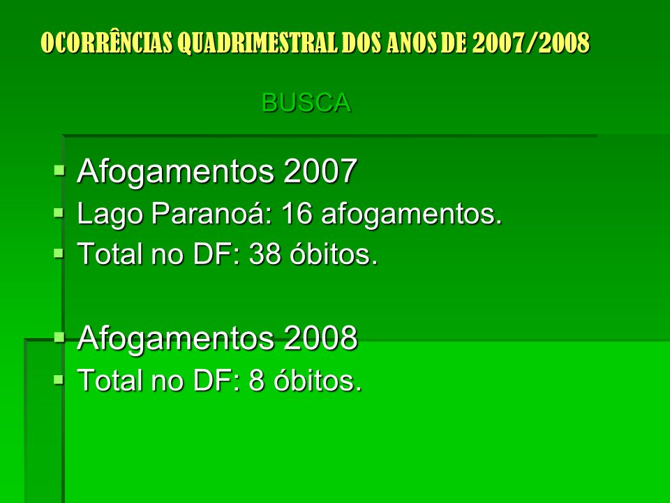 Afogamentos 2007 Afogamentos 2007 Lago Paranoá: 16 afogamentos.