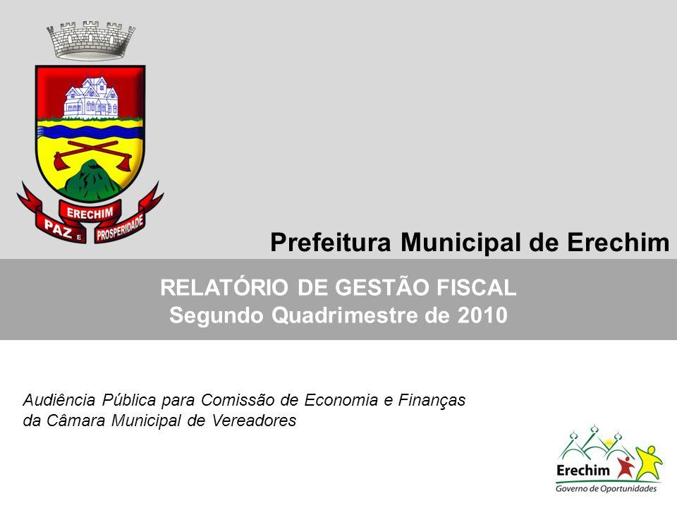 RELATÓRIO DE GESTÃO FISCAL Segundo Quadrimestre de 2010 Audiência Pública para Comissão de Economia e Finanças da Câmara Municipal de Vereadores Prefeitura Municipal de Erechim