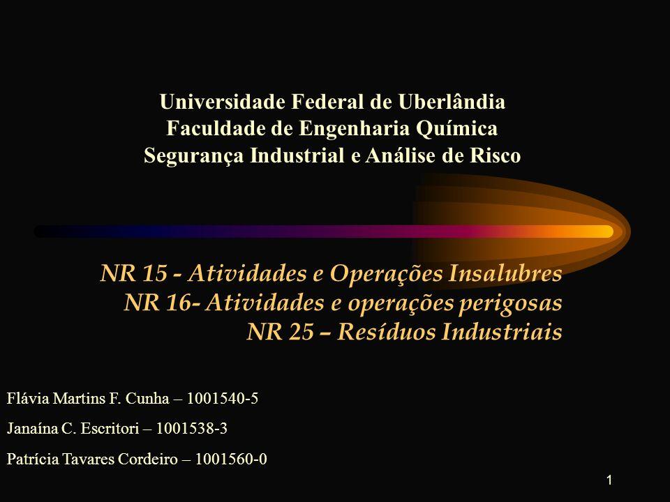 1 NR 15 - Atividades e Operações Insalubres NR 16- Atividades e operações perigosas NR 25 – Resíduos Industriais Universidade Federal de Uberlândia Fa