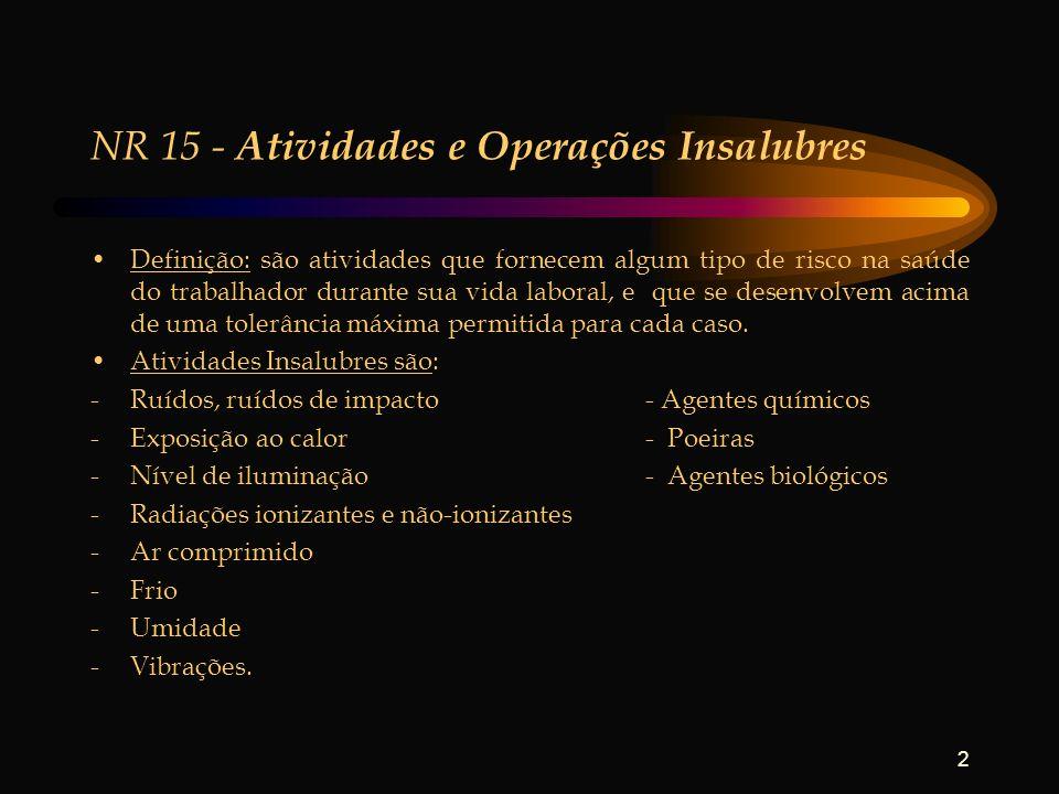 2 NR 15 - Atividades e Operações Insalubres Definição: são atividades que fornecem algum tipo de risco na saúde do trabalhador durante sua vida labora