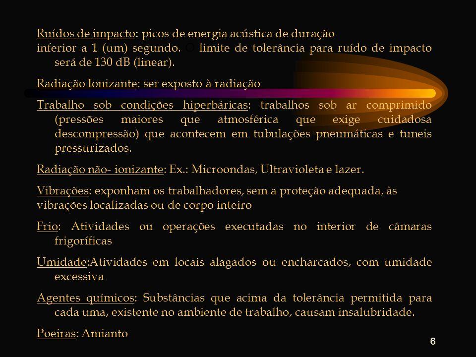 6 Ruídos de impacto: picos de energia acústica de duração inferior a 1 (um) segundo. O limite de tolerância para ruído de impacto será de 130 dB (line