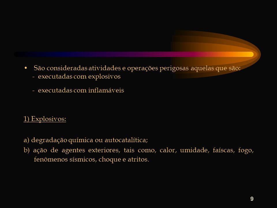 9 São consideradas atividades e operações perigosas aquelas que são: - executadas com explosivos - executadas com inflamáveis 1) Explosivos: a) degrad