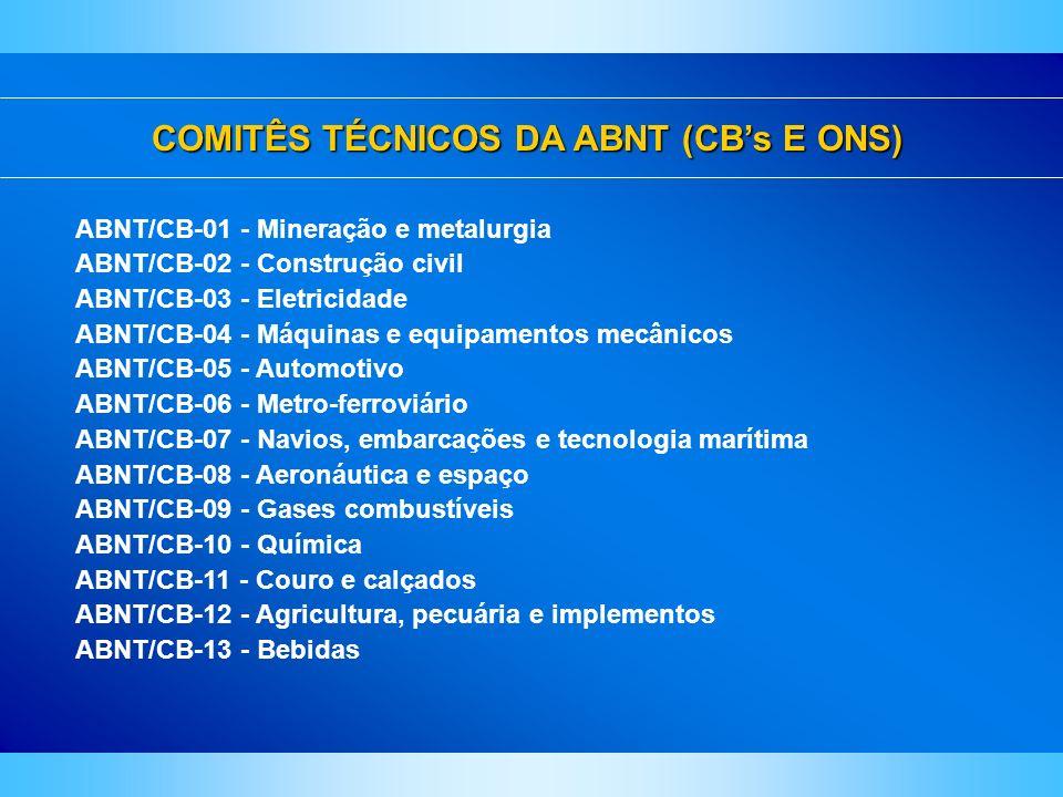 COMITÊS TÉCNICOS DA ABNT (CBs E ONS) ABNT/CB-01 - Mineração e metalurgia ABNT/CB-02 - Construção civil ABNT/CB-03 - Eletricidade ABNT/CB-04 - Máquinas