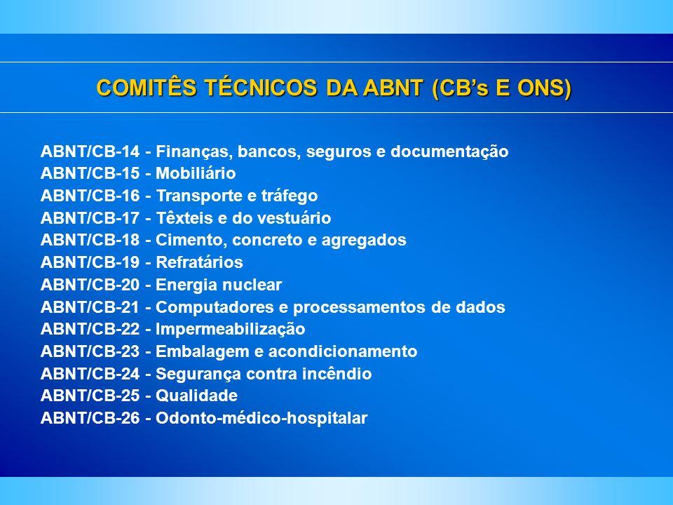 COMITÊS TÉCNICOS DA ABNT (CBs E ONS) ABNT/CB-14 - Finanças, bancos, seguros e documentação ABNT/CB-15 - Mobiliário ABNT/CB-16 - Transporte e tráfego A