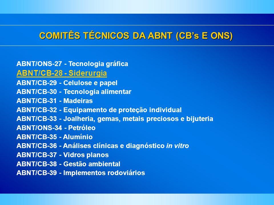 COMITÊS TÉCNICOS DA ABNT (CBs E ONS) ABNT/ONS-27 - Tecnologia gráfica ABNT/CB-28 - Siderurgia ABNT/CB-29 - Celulose e papel ABNT/CB-30 - Tecnologia al