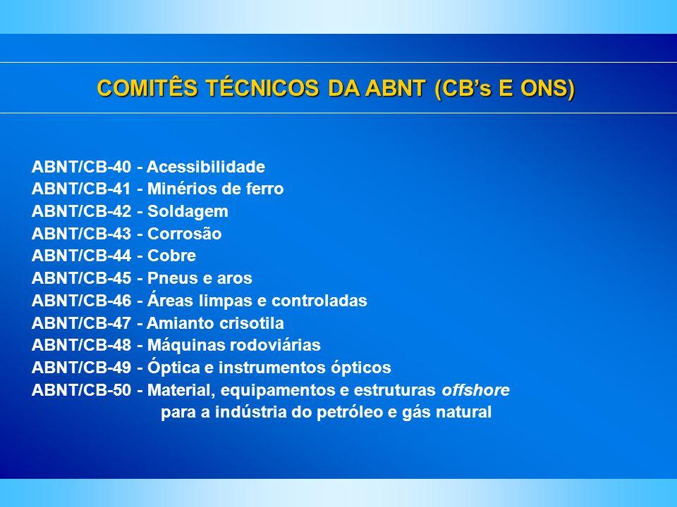 COMITÊS TÉCNICOS DA ABNT (CBs E ONS) ABNT/CB-40 - Acessibilidade ABNT/CB-41 - Minérios de ferro ABNT/CB-42 - Soldagem ABNT/CB-43 - Corrosão ABNT/CB-44