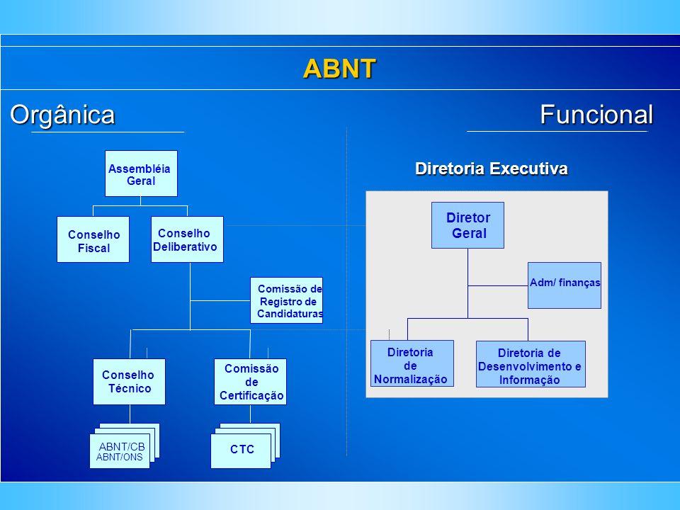 ABNTFuncional Diretor Geral Diretoria de Desenvolvimento e Informação Diretoria de Normalização Adm/ finanças Diretoria Executiva Orgânica Conselho De