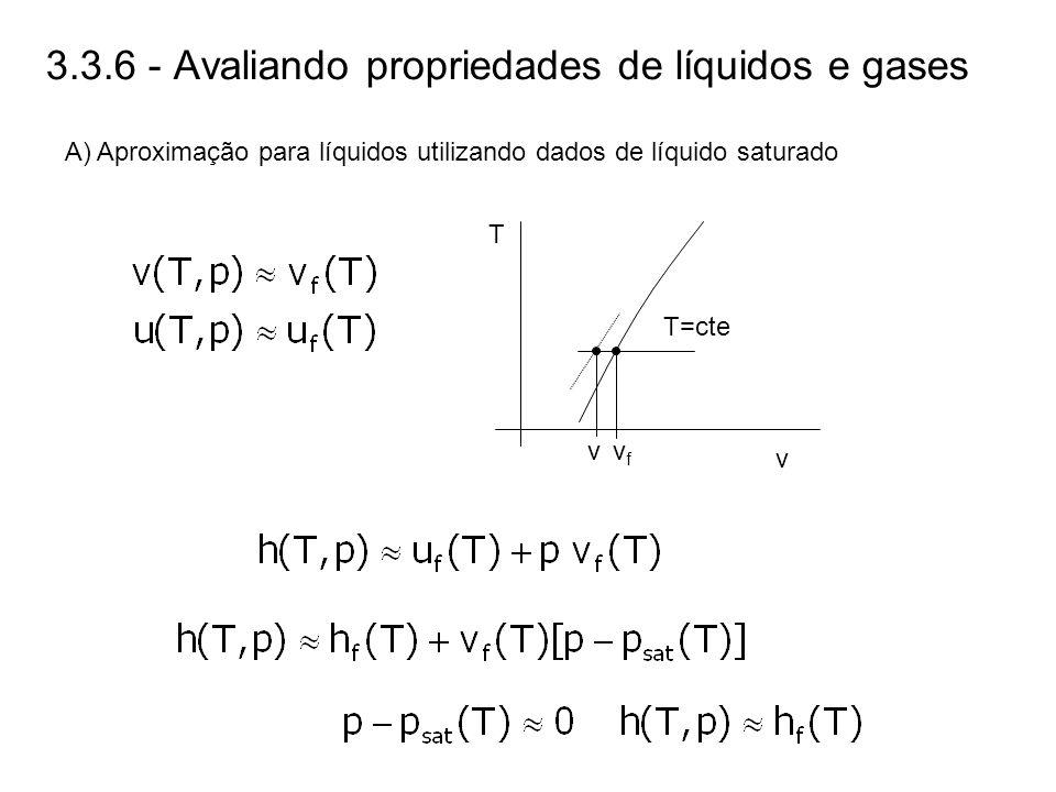 3.3.6 - Avaliando propriedades de líquidos e gases A) Aproximação para líquidos utilizando dados de líquido saturado T v vvfvf T=cte
