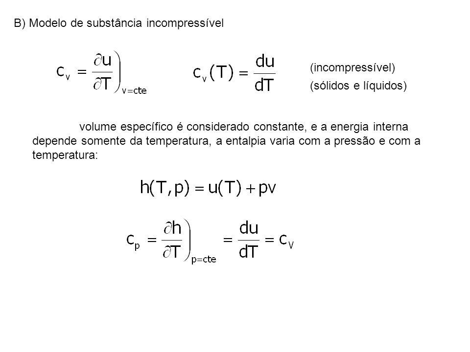 B) Modelo de substância incompressível (incompressível) (sólidos e líquidos) volume específico é considerado constante, e a energia interna depende so