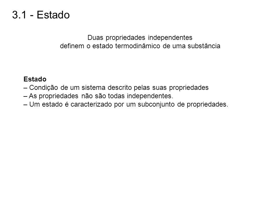 3.1 - Estado Duas propriedades independentes definem o estado termodinâmico de uma substância Estado – Condição de um sistema descrito pelas suas prop