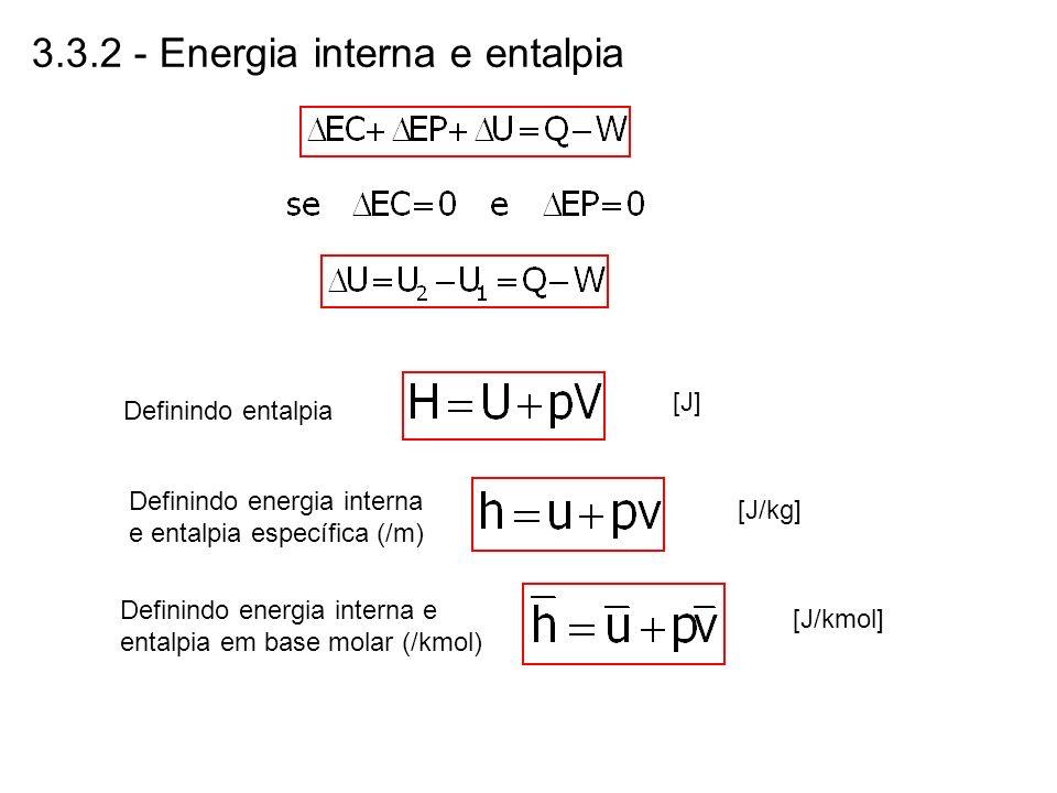 3.3.2 - Energia interna e entalpia Definindo entalpia [J] Definindo energia interna e entalpia específica (/m) [J/kg] Definindo energia interna e enta