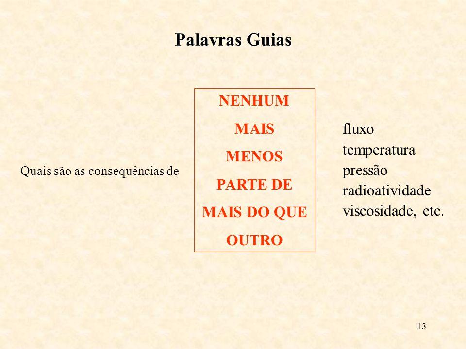 13 Palavras Guias Quais são as consequências de NENHUM MAIS MENOS PARTE DE MAIS DO QUE OUTRO fluxo temperatura pressão radioatividade viscosidade, etc.